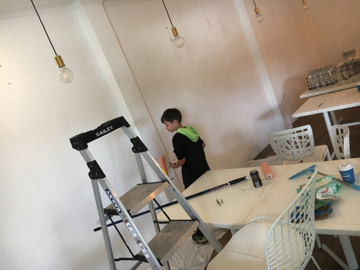 Professional painters are brought in